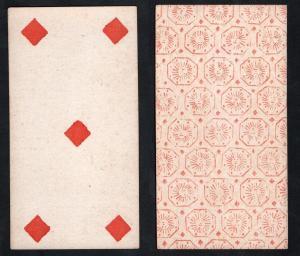 (Karo 5) - Original 18th century playing card from Liege (by Dubois) / carte a jouer / Spielkarte - Tarot