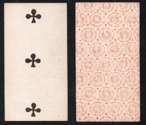 (Kreuz 3) - Original 18th century playing card from Liege (by Dubois) / carte a jouer / Spielkarte - Tarot
