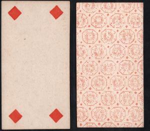 (Karo 4) - Original 18th century playing card from Liege (by Dubois) / carte a jouer / Spielkarte - Tarot
