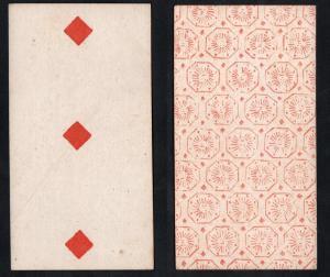(Karo 3) - Original 18th century playing card from Liege (by Dubois) / carte a jouer / Spielkarte - Tarot