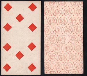 (Karo 10) - Original 18th century playing card from Liege (by Dubois) / carte a jouer / Spielkarte - Tarot