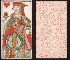 (Herz Königin) - Original 18th century playing card from Liege (by Dubois) / carte a jouer / Spielkarte - Taro