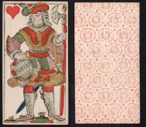 (Herz Ritter) - Original 18th century playing card from Liege (by Dubois) / carte a jouer / Spielkarte - Tarot