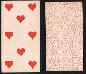 (Herz 8) - Original 18th century playing card from Liege (by Dubois) / carte a jouer / Spielkarte - Tarot