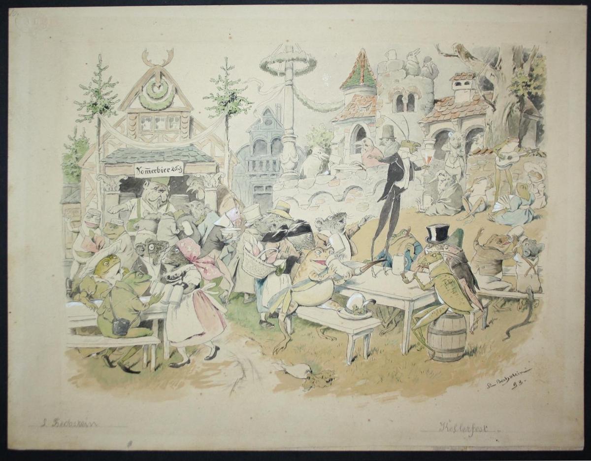 Original watercolor drawing: Kellerfest / Illustration for the children's book Der Gesangverein Brüllaria und 0