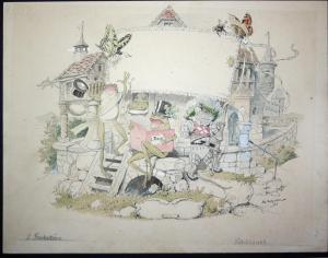 Original watercolor drawing: Titelblatt / Title page for the children's book Der Gesangverein Brüllaria und se