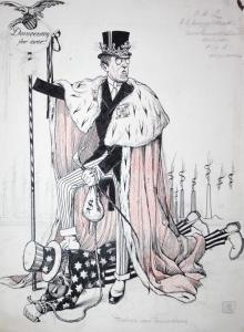 Democracy for ever! - Propaganda drawing Zeichnung America Woodrow Wilson world war