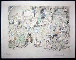 Original watercolor drawing: Festconzert / Illustration for the children's book Der Gesangverein Brüllaria und