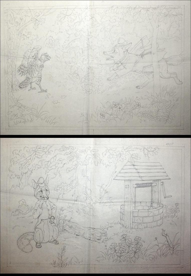 146 original pencil drawings for the children's book Brer Rabbit Stories. 0