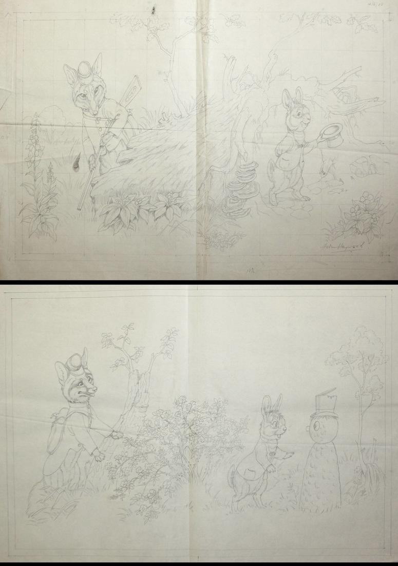 146 original pencil drawings for the children's book Brer Rabbit Stories. 1