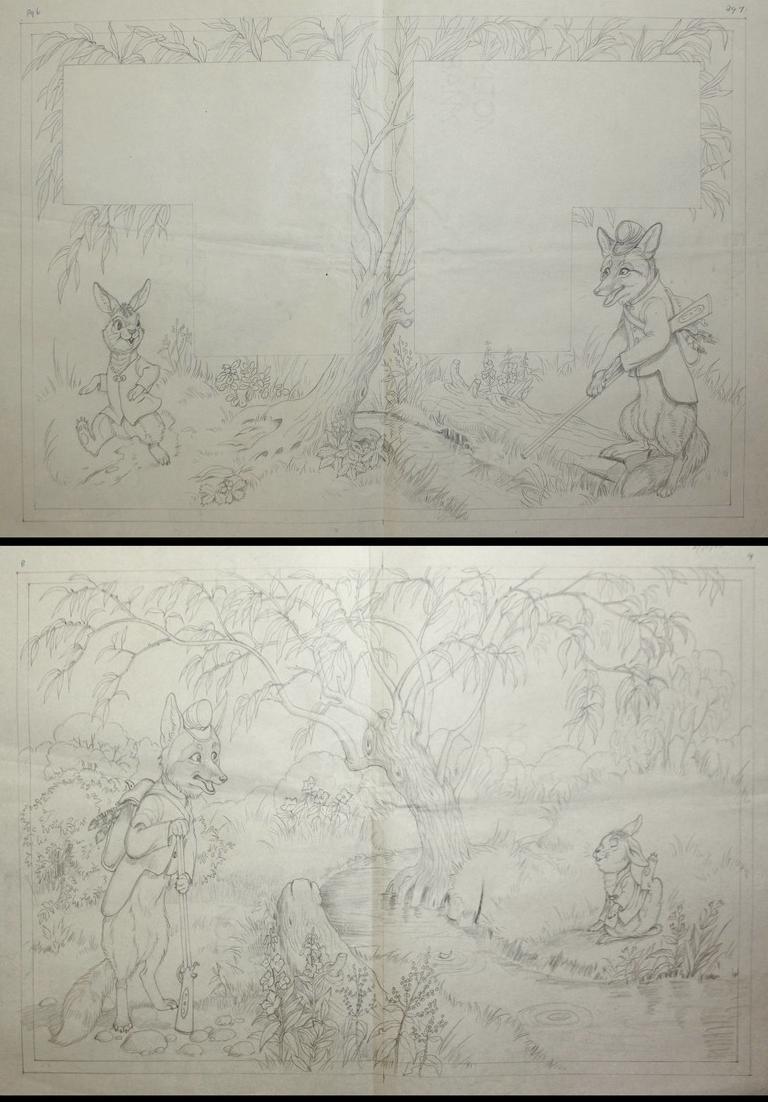 146 original pencil drawings for the children's book Brer Rabbit Stories. 2