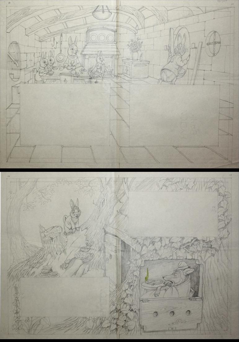 146 original pencil drawings for the children's book Brer Rabbit Stories. 3