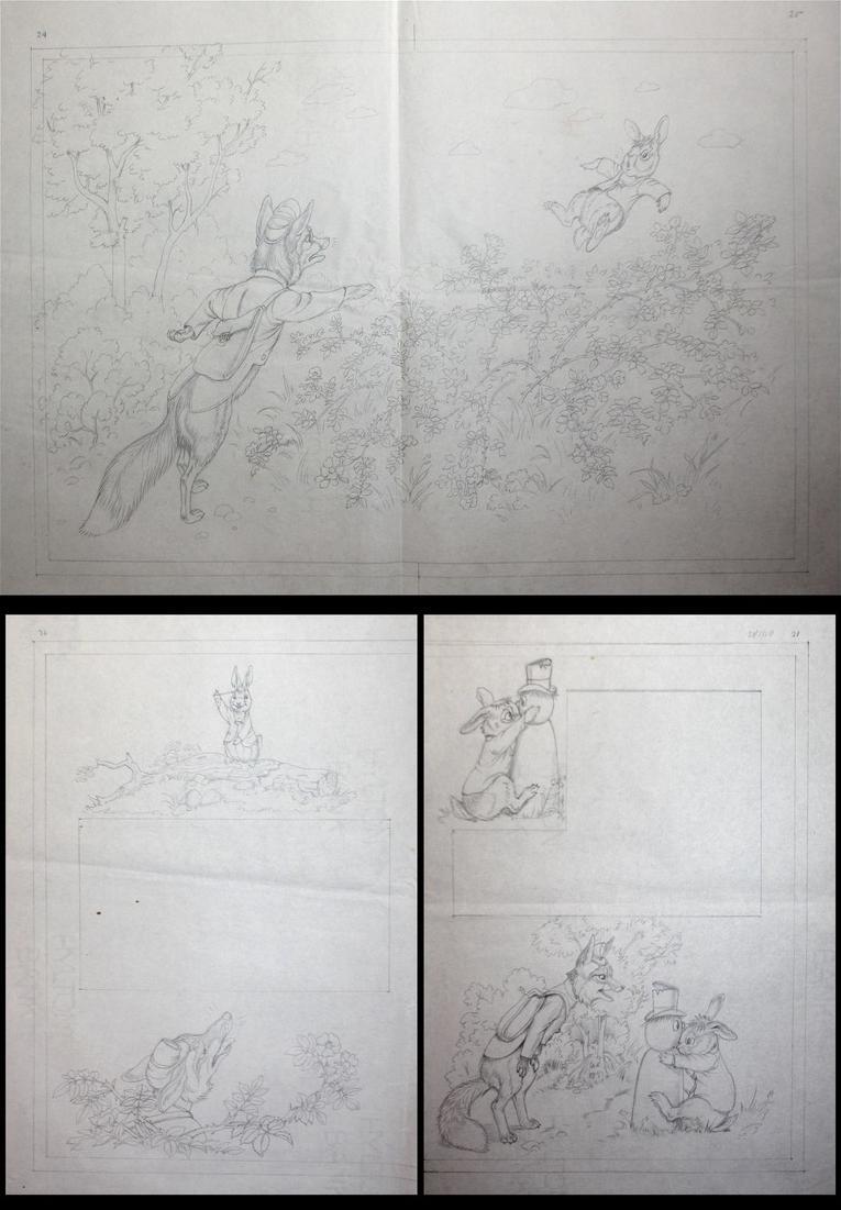 146 original pencil drawings for the children's book Brer Rabbit Stories. 6