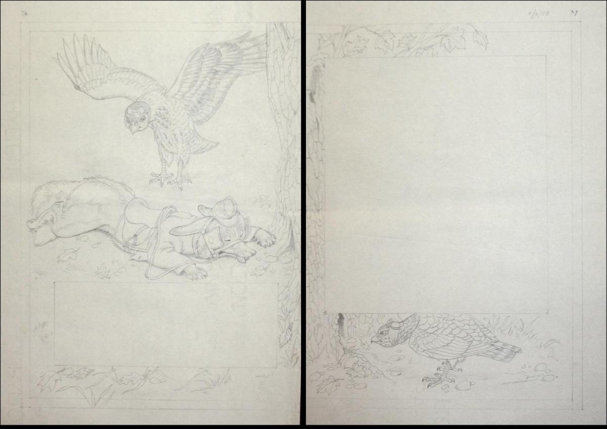 146 original pencil drawings for the children's book Brer Rabbit Stories. 7
