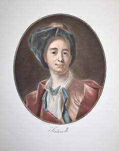 Fontenelle - Bernard le Bovier de Fontenelle (1657-1757) Schriftsteller writer ecrivain Portrait Farbaquatinta