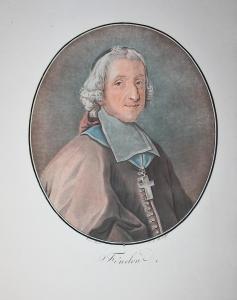 Fenelon - Francois Fenelon (1651-1715) théologien Theologe Erzbischof archbischop Portrait Farbaquatinta Aquat