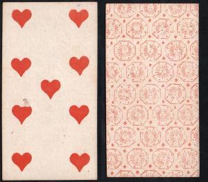 (Herz 9) - Original 18th century playing card from Liege (by Dubois) / carte a jouer / Spielkarte - Tarot