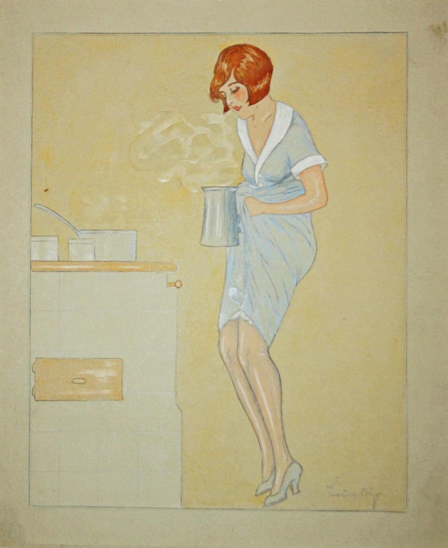 Art Deco Erotik erotic Kochen Kochkunst Küche Hausfrau Köchin housewife 1920er Jahre 1920s Zeichnung drawing d 0
