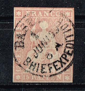 Schweiz Mi. Nr.15 gestempelt sitzende Helvetia geschnitten Michelwert 50 Euro