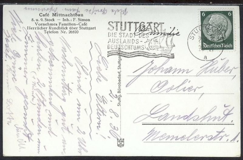 Ak Deutsches Reich Stuttgart 1936 Mittnachtsbau Cafe 11 40 Nr 11