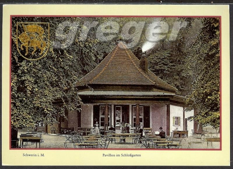 AK DDR Schwerin Pavillon im Schlossgarten, Reproduktion einer historischen Ansichtskarte     25/14