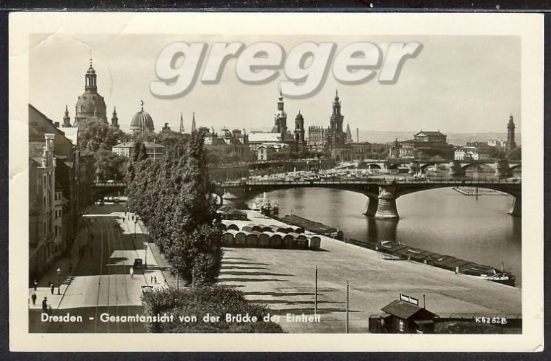 DDR, Dresden, v.d. Brücke der Einheit, postal.gelaufen 32/47