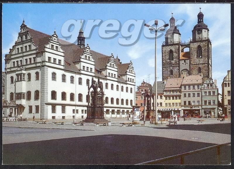 ak lutherstadt wittenberg markt mit rathaus und stadtkirche 33 29 nr 33 29 oldthing. Black Bedroom Furniture Sets. Home Design Ideas