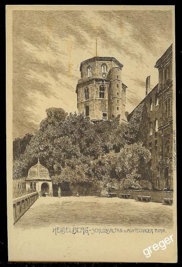 AK Heidelberg, Schlossaltan und achteckiger Turm    71/49