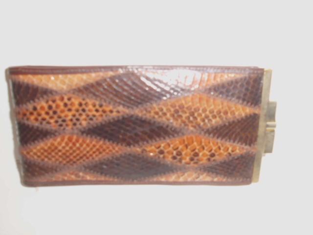 Brillenetui Schlangenleder mit Metallbügelverschluss 17cm x 8cm