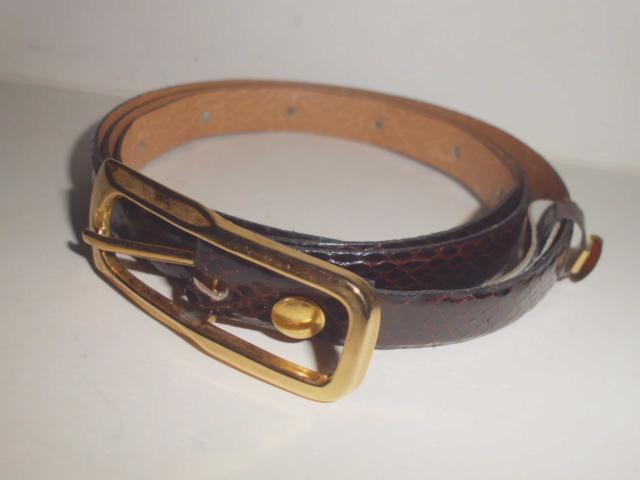 OVP Schlangenleder-Gürtel Farbe dunkelbraun, Gesamtlänge 90cm x  Breite1,5cm, mit Ettikett