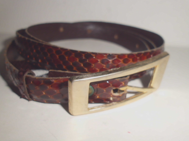 Schlangenleder-Gürtel Farbe vorwiegend braun, Gesamtlänge 1m x  Breite1,5cm, neuwertig