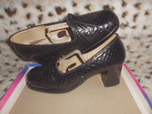 Rheinberger schwarze Schlangenleder-Schuhe Größe 5 (38), Absatz 6cm, mit üblichen Gebrauchsspuren
