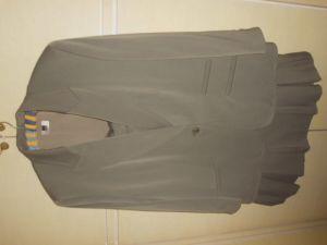 ARA Moden grauer Kostüm Größe 46, Vintage-Schnitt mit knielangem Faltrock, Schurwolle + Viskose + Polyester, Futter Viskose 0