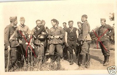 Originalfoto 6x9cm, gefangene Franzosen+Deutsche Soldaten, 1940