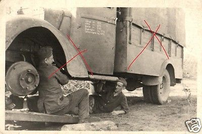 Originalfoto 7x10cm, LKW Reparatur an der Front