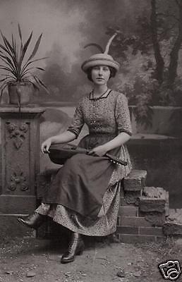 Originalfoto 9x13cm, Frau mit Laute, ca. 1910
