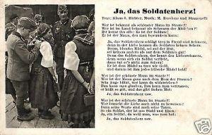 Liedkarte, Ja, das Soldatenherz