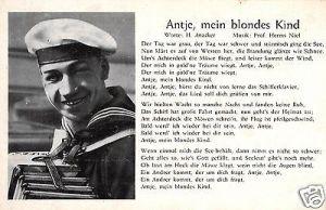 Liedkarte, Antje, mein blondes Kind