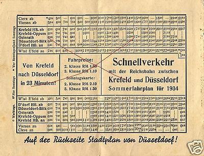 Alter Fahrplan Schnellverkehr Reichsbahn Krefeld-Düsseldorf Sommer 1934