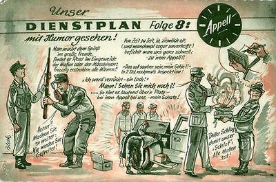 Scherzkarte Bundeswehr Unser Dienstplan, 1968
