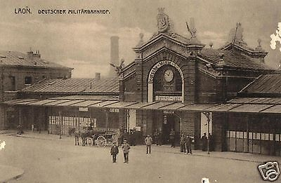 Foto AK, Laon, Deutscher Militärbahnhof, ca. 1916