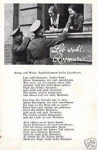 Liedkarte,Leb wohl Rosemarie