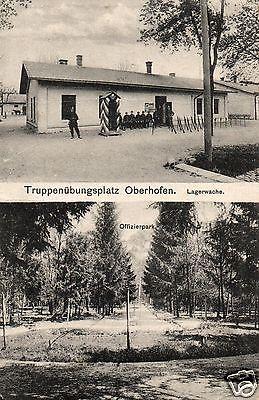 Foto AK, Übungsplatz Oberhofen, Lagerwache, Stempel Jäger Batl.10, 1918