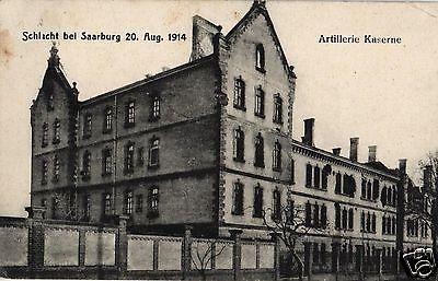 Foto AK, Saarburg, zerstörte Artilleriekaserne, Stempel Jäger Batl.10