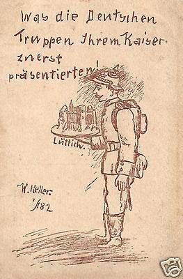 Propaganda AK, Karrikatur, Was die Deutschen..,Zugstempel Zug 146, 1916