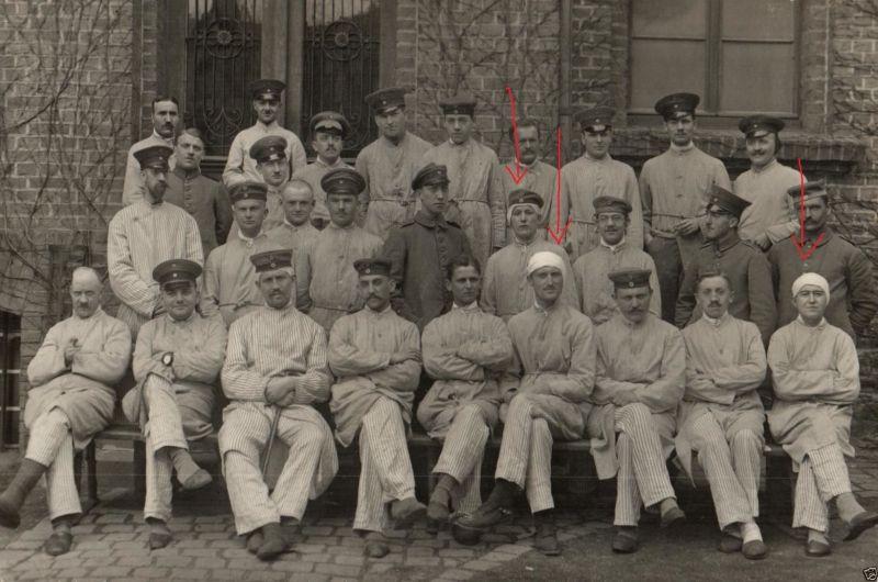 Originalfoto 9x13cm, Verwundete, Kopfwunden, Lazarett Kranenburg, 1917