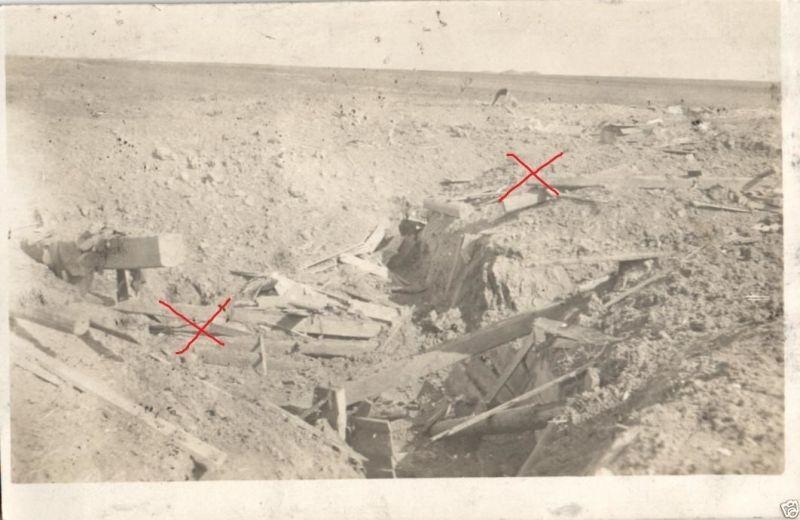 Originalfoto 9x13cm, Volltreffer Schützengraben, 1917