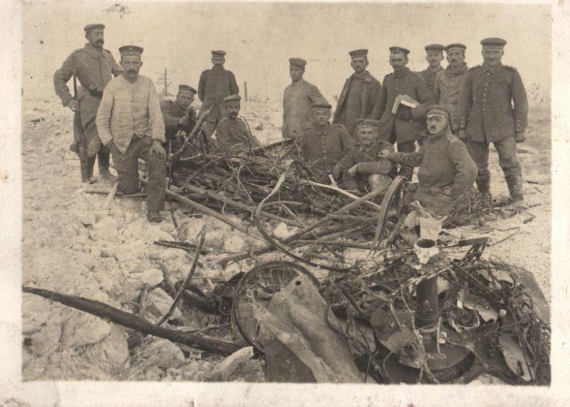 Originalfoto 9x12, abgestürztes Flugzeug, ca. 1915