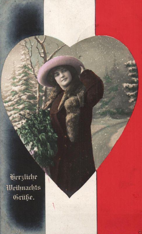 Patriotika, Weihnachtsgruß mit Reichsflagge, 1915