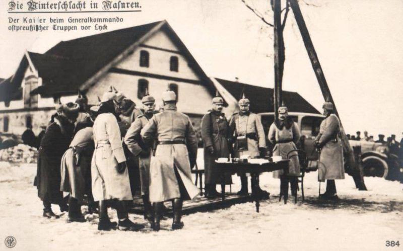 Foto Ak, Winterschlacht in Masuren, Kaiser beim Generalkommando